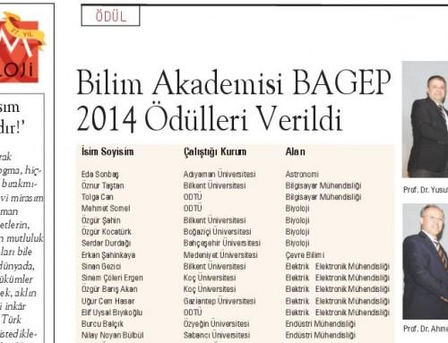 BAGEP 2014 Ödülleri Hakkında Cumhuriyet Bilim Teknik Dergisinde Yayınlanan Haber