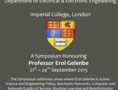 Erol Gelenbe Onuruna Sempozyum ( 21-24 Eylül 2015, Imperial College London)