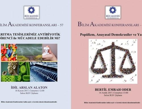 İdil Arslan Alaton ve Bertil Emrah Oder ile Bilim Akademisi Güz Konferansları