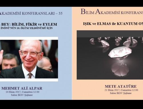 Bilim Akademisi Konferansları – EKİM 2017
